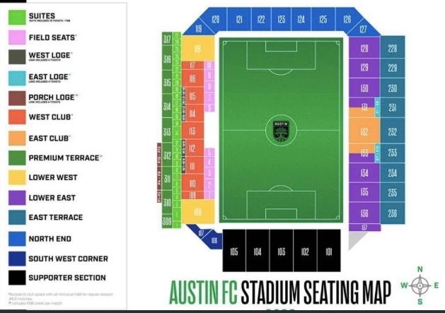 AFC stadium seat map