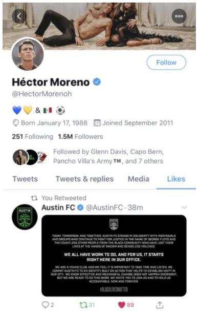 hector moreno austin fc tweet