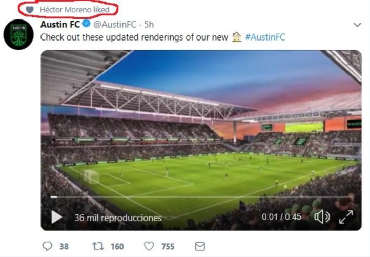 hector moreno austin fc tweet 2019